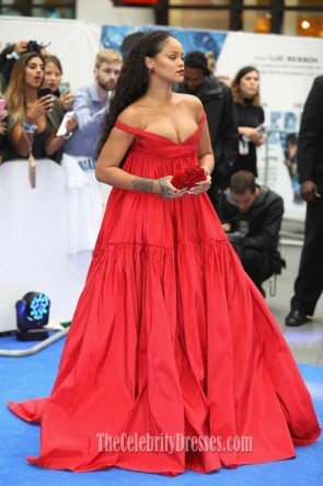 Rihanna Red Off-the-shoulder Empire Evening Ball Gown Premiere of  Valerian and the City of a Thousand Planets TCD7416