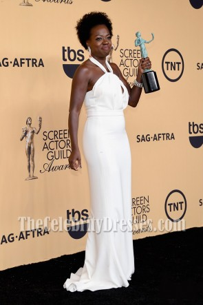 Viola Davis weißes Halfter langes Abendkleid 2015 SAG Awards
