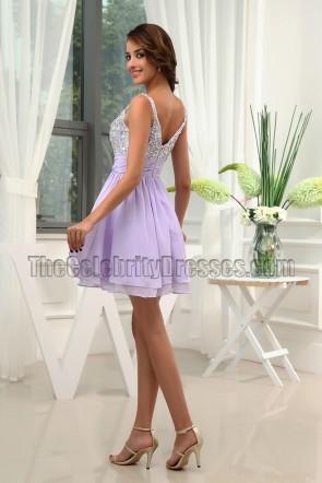 Wunderschönes lila Pailletten-Heimkehrkleid Partykleid