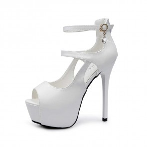 White Ankle Strap Pump Rhinestones Prom Sandals For Women With Stiletto Heels