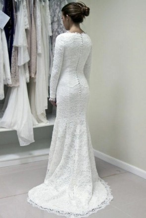 Weiße Meerjungfrau Spitze Brautkleid mit langen Ärmeln