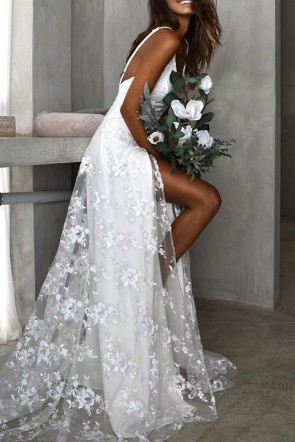 White Sexy Lace Thigh-high Slit Dress
