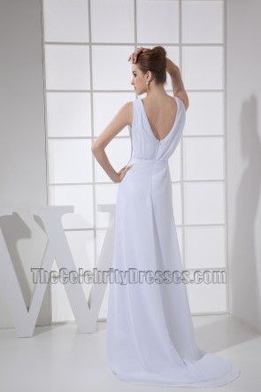 Simple White Chiffon Prom Dress Evening Formal Dresses