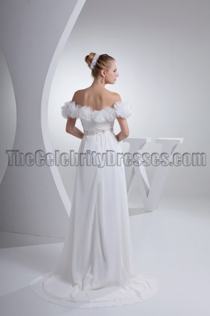 White Off-the-Shoulder Prom Gown Evening Pageant Dresses