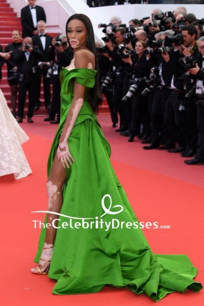 Winnie Harlow Green Off-the-shoulder Evening Formal Dress With Thigh-high Slit 2018 Cannes Film Festival Red Carpet TCD7872