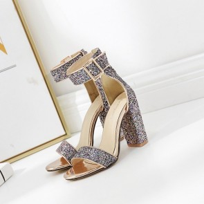 Women's Ankle Straps Sparkly Glitter Chunky Heels Sandals