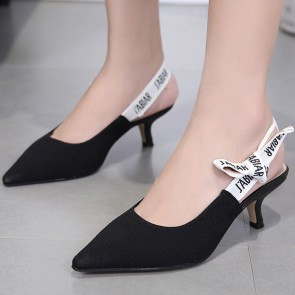Women's Knit Pointed Toe Shoes Back With Ankle Strap