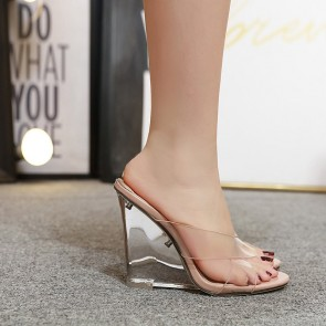 Women's Nude Transparent Wedge Heel Open-toe Shoes