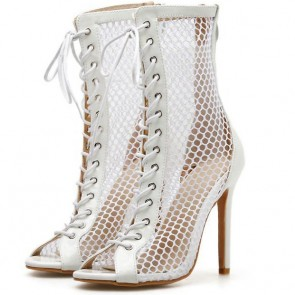 Women's Peep-toe Tulle Hollow Stiletto Heels Boots With Lace-up Shoes