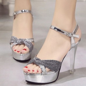 Women's Sparkling Glitter Platform Stiletto Heels Open-toe Sandals