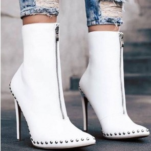 Women's Pointed Toe Stiletto Heels Boots Front Zipper