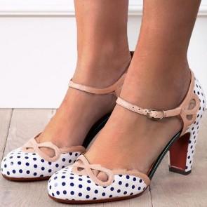 Women's Polka Dot Printed Chunky Heel Pump Shoes Cap-toe With Buckle