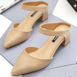 Women's PU Chunky Heel  Pointed Closed-toe Shoes