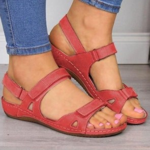 Women's PU Open-toe Flat Heel Ankle With Buckle Sandals