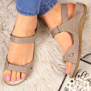 Women's PU Open-toe Flat Ankle With Buckle Sandals