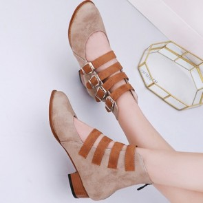 Women's PU Square Heel Pumps Closed Toe Shoes With Buckles