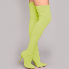 Women's Stiletto Heel Knee Boots With Zipper Shoes