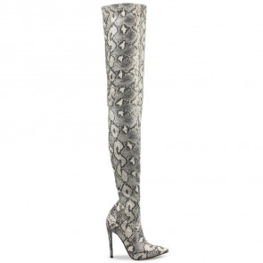Women's Stiletto Heel Snakeskin Print Over The Knee Boots