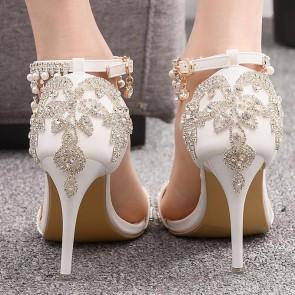 Women's Stiletto Heels Open-toe Glitter Wedding Shoes