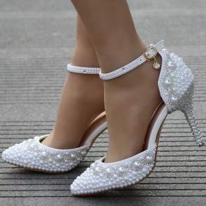 Women's Stiletto Heels Wedding Shoes With Imitation Pearl