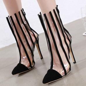 Women's Suede Clear Stiletto Heel Shoes