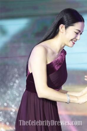 Yao Chen Burgund Abendkleid 14. Chinesische Medien Auszeichnungen