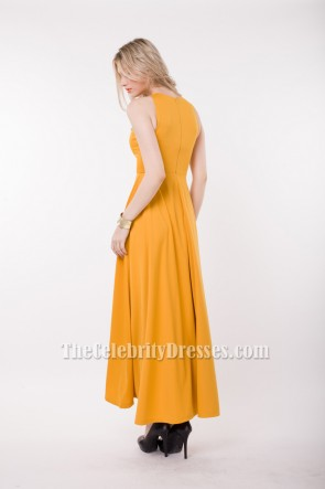 Yellow Sleeveless Prom Gown Evening Dress Maxi Dresses TCDBF021