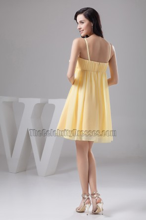 Yellow Spaghetti Straps Cocktail Party Homecoming Dress