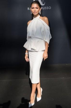 Zendaya White Halter Shoulderless Cocktail Dress
