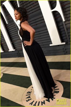 Zoe Saldana 2015 Vanity Fair Party Schwarzes weißes Chiffon- Abendkleid TCD6049