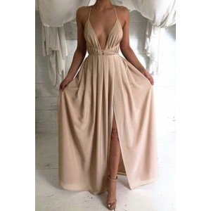 Reizvolles, tiefes V-Ansatz Abendkleid backless Abschlussballkleid
