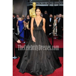 Camila Alves 2011 Oscar Black V-neck Formal Dress Red Carpet Ball Gown