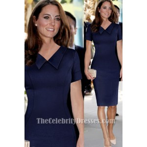 Kate Middleton Knee Length Navy Cocktail Party Dresses TCDTB002