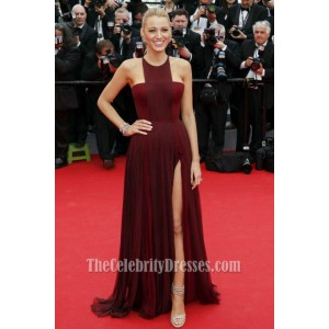 Blake Lively Burgundy Prom Dress Cannes 2014 Red Carpet