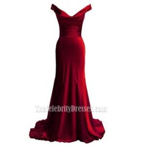Elegant Red Off-the-shoulder Prom Dress Evening Formal Dresses