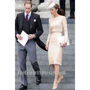 Kate Middleton Lace Cocktail Dress Queen's Thanksgiving Service