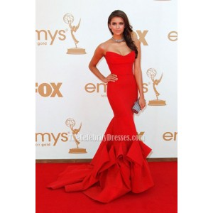 Nina Dobrev Red Strapless Prom Gown Formal Dress 2011 Emmy Awards
