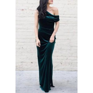 Chic Dark Green Velvet One-shoulder Bridesmaid Dress