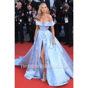Elsa Hosk Light Sky Blue Off-the-shoulder High Slit Ball Gown 2017 Cannes Film Festival