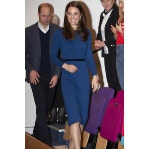 Kate Middleton Blue Short Dress Visiting Northern Ireland 2019