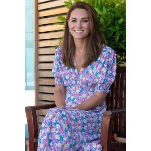 Kate Middleton Floral Midi Dress Visiting Each Hospice