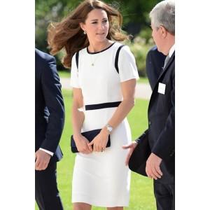 Kate Middleton Elegantes, knielanges Cocktailkleid in Weiß und Schwarz