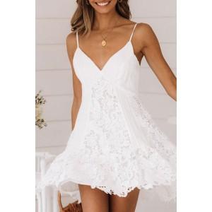 White Lace Spaghetti Straps Dress
