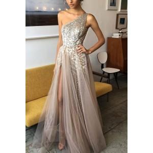 Sparkly One-shoulder  Prom Dress