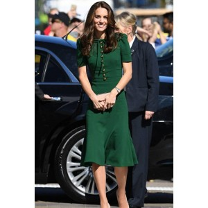 Kate Middleton Green Knee-Length Coat Dress on Her Visit to Paris