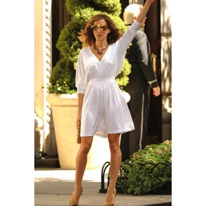 """Sarah Jessica Parker White Short Cocktail Party Dress in """"Sex And The City"""" 2"""