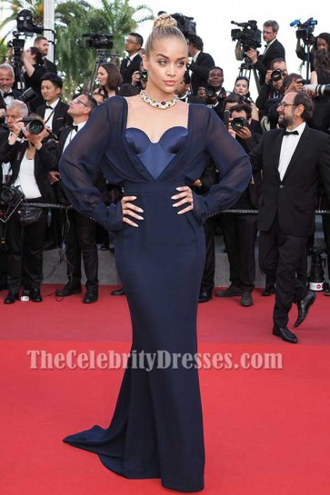 Jasmine Sanders Dark Navy Long Sleeves Strapless Corset Gown 2017 Cannes Film Festival