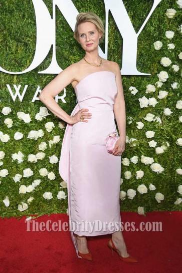 Cynthia Nixon Pearl Pink Strapless Evening Dress 2017 Tony Awards