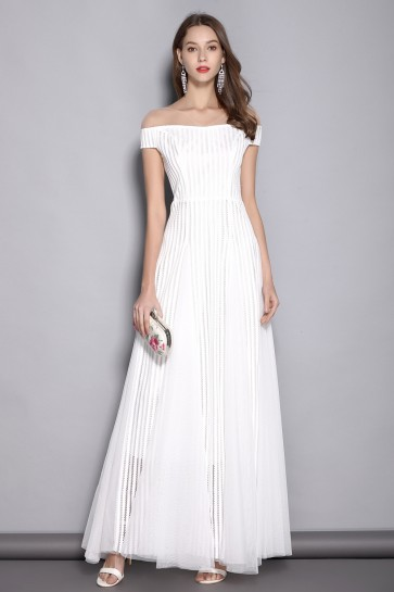 White A-line Off-the-shoulder Prom Dress