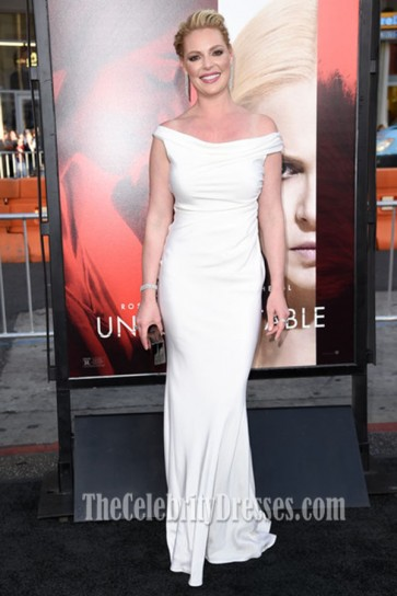 Katherine Heigl white off-the-shoulder Evening Dress the Premiere of Unforgettable